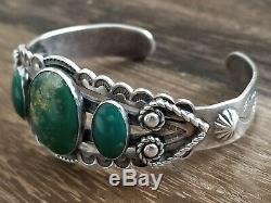 Fred Harvey Era Navajo Sterling Silver Turquoise Cuff Bracelet