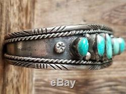 Fred Harvey Era Navajo Sterling Silver Turquoise Cuff Bracelet 29.9 Grams