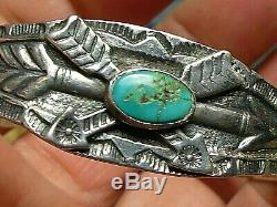 Fred Harvey Era Navajo Sterling Silver Turquoise Hand Made/Stamped Cuff Bracelet