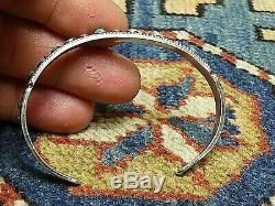 Fred Harvey Era Navajo Sterling Silver Turquoise'Snake Eyes Cuff Bracelet