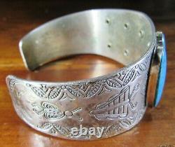 Fred Harvey Era Nickel Silver Turquoise Native American Navajo Cuff Bracelet