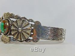 Fred Harvey Era Old Navajo Coin Silver Royston Turquoise & Concho Cuff Bracelet