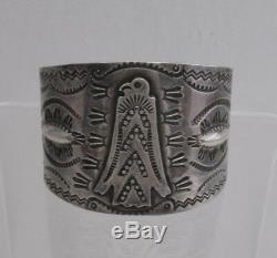 Fred Harvey Era Old Navajo Silver Thunderbird Bracelet, 58 Grams