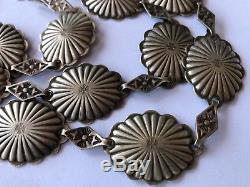 Fred Harvey Era Old Navajo Sterling Silver Thunderbird Stamped Concho 30 Belt