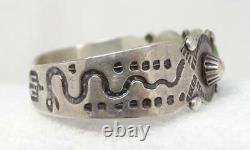 Fred Harvey Era Old Pawn Silver Turquoise Snakes Stampwork Cuff Bracelet