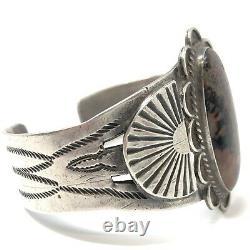 Fred Harvey Era Petrified Wood Cuff Bracelet Sterling Silver Navajo 50.4g