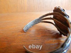 Fred Harvey Era Petrified Wood Navajo Stamped Sterling Silver Cuff Bracelet