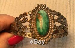 Fred Harvey Era SS Silver Arrow Bracelet, Super Unstabilized Turquoise Stone