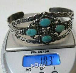 Fred Harvey Era Silver Arrow Stamped Sterling Silver Turquoise Cuff Bracelet