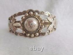 Fred Harvey Era Silver Products Coin Silver Bead Applied Arrows Cuff Bracelet