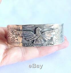 Fred Harvey Era Southwestern Sterling Silver Thunderbird Cuff Bracelet 7