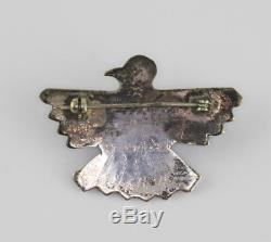 Fred Harvey Era Stamped Sterling Silver Turquoise Signed Thunderbird Brooch