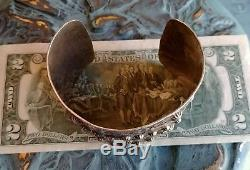 Fred Harvey Era Stamped Thunderbird Sterling Silver Extra Wide Cuff Bracelet70g