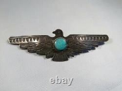 Fred Harvey Era Sterling Silver Decorative Stamp Work Thunderbird Pin/broach