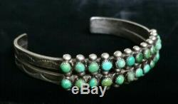Fred Harvey Era Sterling Silver Double Row Turquoise Snake Eye Cuff Bracelet