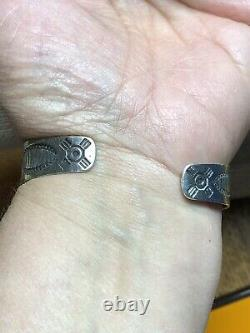 Fred Harvey Era Sterling Silver Natural Turquoise Cuff Bracelet Arrow Navajo Sta