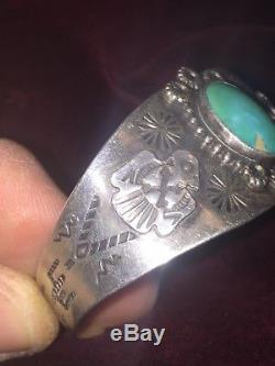 Fred Harvey Era Sterling Silver Navajo Indian Vintage Tuquoise Handmade Bracelet