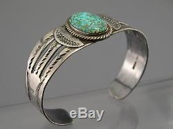 Fred Harvey Era Sterling Silver Number 8 Spiderweb Turquoise Navajo Bracelet