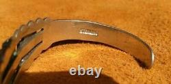 Fred Harvey Era Sterling Silver Turquiose Thunderbird Cuff Bracelet 17.5 Grams