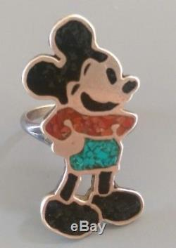 Fred Harvey Era Sterling Silver Turquoise Coral Inlay Mickey Mouse Ring