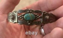 Fred Harvey Era Sterling Silver Turquoise Cuff Bracelet Small Wrist Navajo