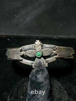 Fred Harvey Era Sterling Silver Turquoise Cuff Bracelet Stamped Vintage