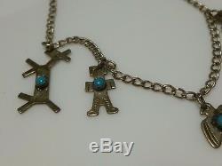 Fred Harvey Era Sterling Silver Turquoise Southwestern Pawn Charm Bracelet 7