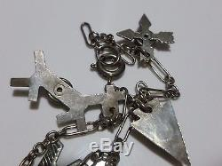 Fred Harvey Era Sterling Silver Turquoise Storyteller Cable Charm Bracelet