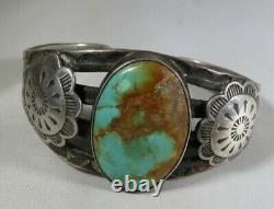 Fred Harvey Era Sterling Silver and Turquoise Cuff with Stamped Conchos
