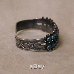 Fred Harvey Era Sterling Silver and Two Row Faux Turquoise Cuff Bracelet