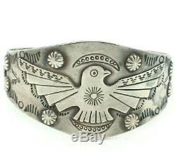 Fred Harvey Era Thunderbird Cuff Sterling Silver 925 Bracelet 42g 7 REY317
