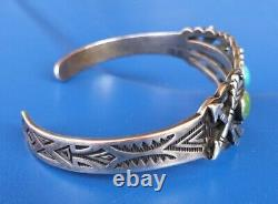 Fred Harvey Era Turquiose Crossed Arrow Sterling Silver Turquoise Cuff 16 Grams