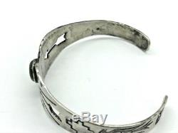 Fred Harvey Era Turquoise Pieced Arrow Thunderbird Coin Silver Cuff Bracelet