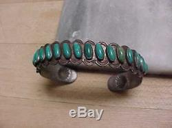 Fred Harvey Era Turquoise & Silver Cuff Bracelet Arrows, Sun Symbols- Nr -great