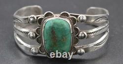 Fred Harvey Era Vintage Navajo Turquoise & Silver Cuff Bracelet