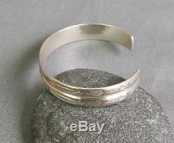 Fred Harvey Era Vintage Sterling Silver Stamped Ridged Cuff Bracelet