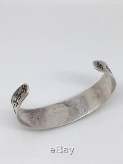Fred Harvey Era Whirling Logs Navajo 900 Silver Coin Cuff Bracelet