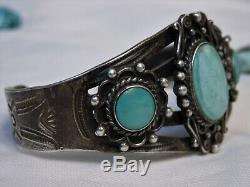 Fred Harvey Era ZUNI Natural CROW SPRINGS TURQUOISE STERLING ManyMoons Cuff