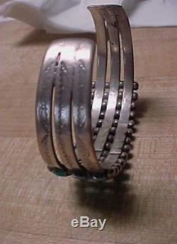 Fred Harvey Era Zuni 3 Row 39 Natural Turquoise & Silver Raindrop Bracelet