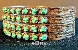 Fred Harvey Era Zuni Sterling Silver Turquoise 3 row Petit Point Cuff EXCELLENT