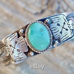 Fred Harvey Green Turquoise Cuff Bracelet Thunderbird Silver Old Pawn Vintage