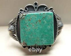Fred Harvey Green Turquoise Sterling Silver Cuff Bracelet 56 grams