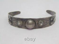 Fred Harvey Native American Old Bell Sterling Silver Stamp Work Cuff Bracelet