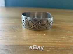 Fred Harvey Native American Stamped Silver Ring And Cuff Bracelet