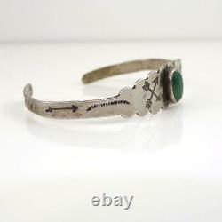 Fred Harvey Native American Sterling Silver Green Turquoise Cuff Bracelet LHF4