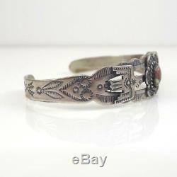Fred Harvey Native American Sterling Silver Turquoise Thunderbird Bracelet LHF5