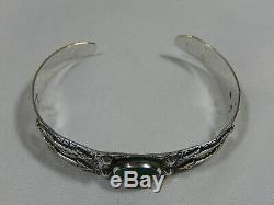 Fred Harvey Navajo Sterling Silver Raised Arrow Snake Gr Turquoise Cuff Bracelet
