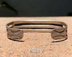 Fred Harvey Navajo Sterling Silver Triangle Cerrillos Turquoise Cuff Bracelet