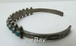 Fred Harvey Navajo Sterling Silver Turquoise Snake Eyes Stamped Cuff Bracelet