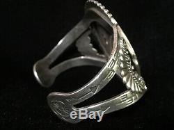 Fred Harvey Old Pawn Arizona Petrified Wood Silver Cuff Bracelet